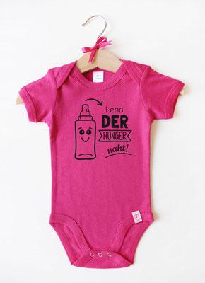 Babybody mit Namen - Babyflasche in Pink
