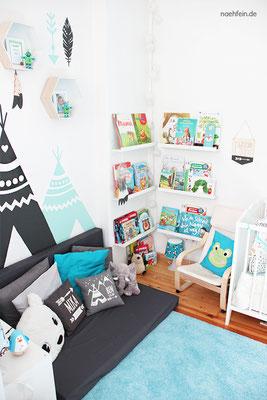 Kinderzimmerdekoration mit cooler Bücherecke zum Kuscheln - nähfein
