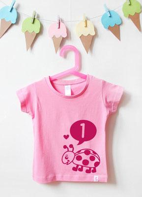 Geburtstagsshirt Tiere | Marienkäfer 1 Jahr - rosa & pink