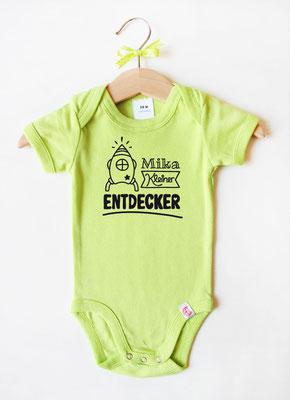 Babybody mit Namen - Rakete in Grün