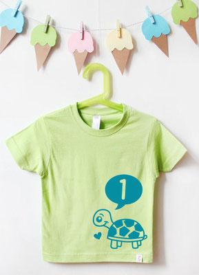 Geburtstagsshirt Tiere | Schildkröte 1 Jahr - grün & türkis