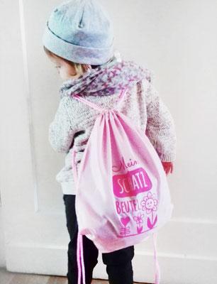 süßes Kundenfoto - Turnbeutel in Rosa mit Aufdruck