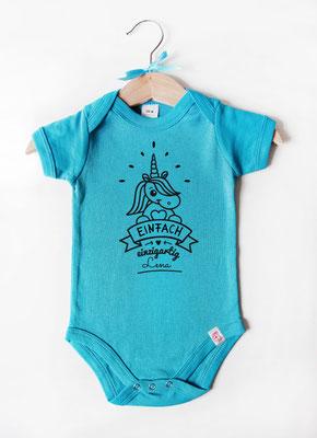 Babybody mit Namen - Einhorn in Blau