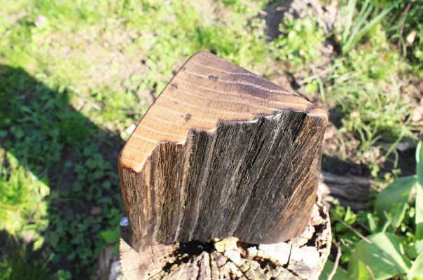 Kleines Dreieck aus Eiche, H: 18 cm