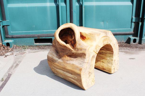 Rundhocker aus Ulme, H: 45 cm