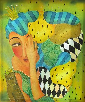 """""""Дворцовые игры"""", холодный батик, р-р 52Х62, 2013г. В НАЛИЧИИ"""