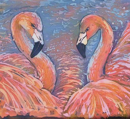 """""""Фламинго"""", горячий батик, 2016г.  В НАЛИЧИИ"""