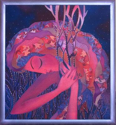"""""""Ночь окутала"""", холодный батик, р-р 55Х60,  2012г. НАШЛА СВОЕГО ВЛАДЕЛЬЦА"""