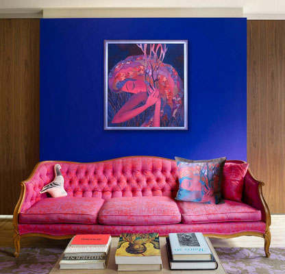"""Картина """"Ночь окутала"""" и подушка диванная с принтом по мотивам, цифровая печать, 38Х38, 2016 г."""