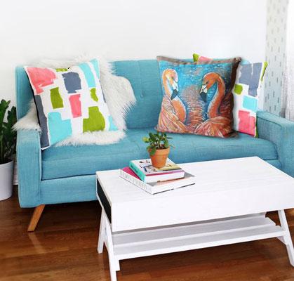 """подушка диванная с принтом по мотивам картины """"Фламинго"""", цифровая печать, 38Х38, 2016 г."""
