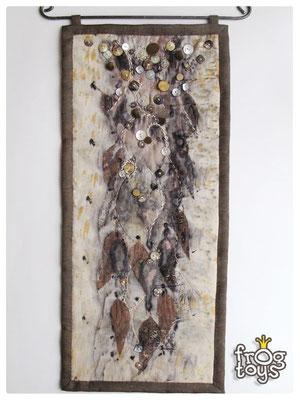 """панно """"Осенние метаморфозы"""", эко-принт, смешанная техника, 28Х62 см.  НАШЛА СВОЕГО ВЛАДЕЛЬЦА"""