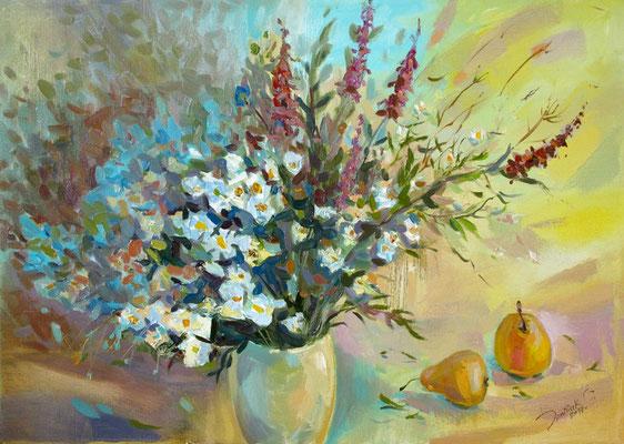 """""""Полевые цветы"""", холст/масло, 50Х70, 2017г. Нашла своего хозяина"""