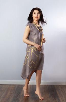 """платье из коллекции """"Нехоженые тропы"""" с ручной росписью"""