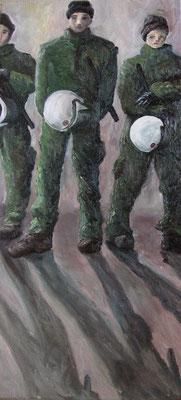 Polizisten, 2008 Öl auf Leinwand, 70x34 cm / Warten
