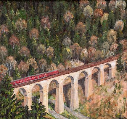 Ravennaviadukt I, 2014, Acryl auf Leinwand, 20x20 cm