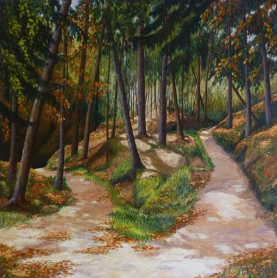 Serpentinenweg im Wald, 2014, Acryl auf Leinwand, 100x100 cm