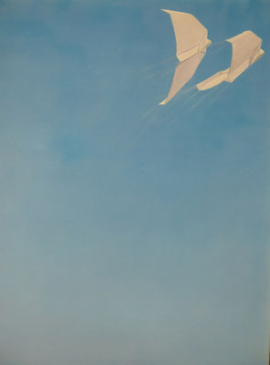 2016, Acryl auf Leinwand, 80x100 cm / Papierflieger