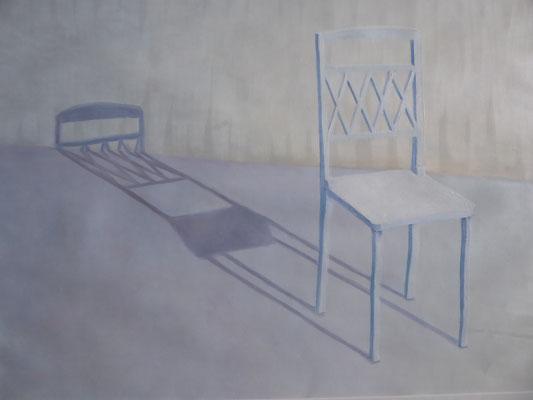 2019, Öl auf Papier 40x54 cm / Stühle