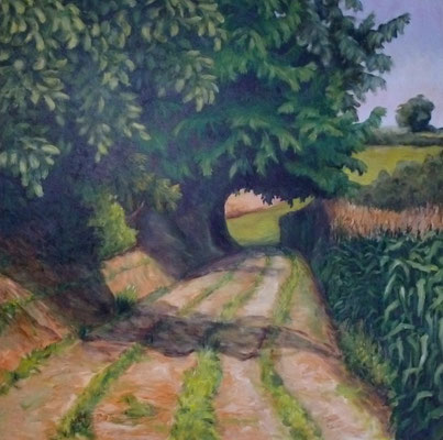 Weg am Nimberg, 2009, Acryl auf Leinwand, 100x100 cm