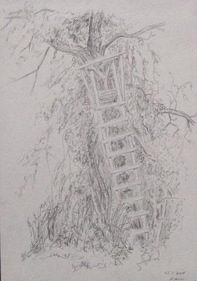2009, Bleistift auf Papier, 30x21 cm  /Jägerstand / Warten
