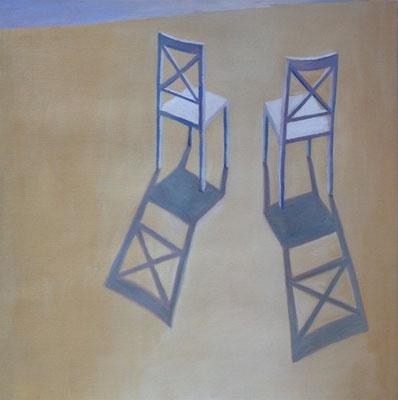 2011, Öl auf Papier, 36x35 cm / Stühle