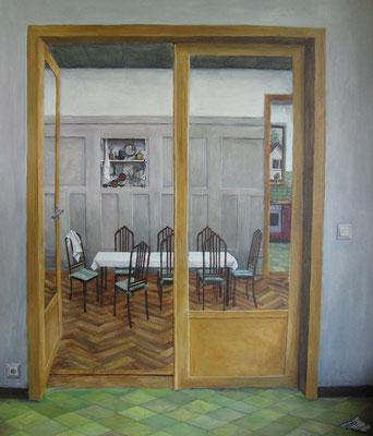 Innenraum IV, 2010, Acryl auf Leinwand, 90x70 cm / Warten
