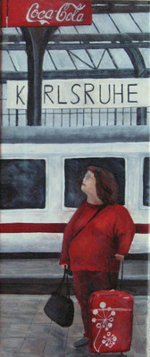 Wartende, 2009, Acryl auf Leinwand, 60x25 cm / Warten
