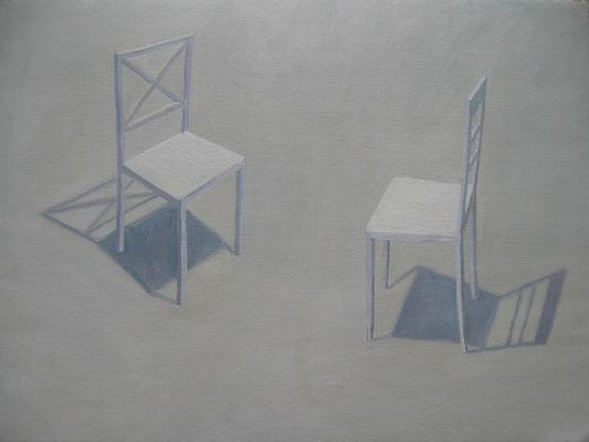 2011, Öl auf Papier, 36x48 cm / Stühle