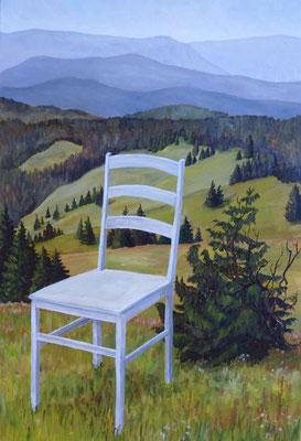 2010, Acryl auf Leinwand 70x44 cm / Stuhl
