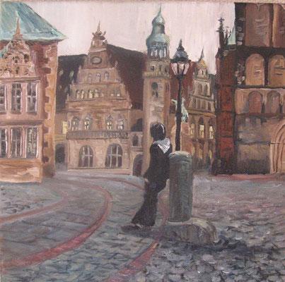 Bremen, 2008, Öl auf Leinwand, 30x30 cm / Warten