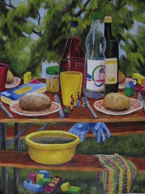 """""""Besuch der Enkel"""", 2009 Acryl auf Papier, 56x42 cm /Warten"""