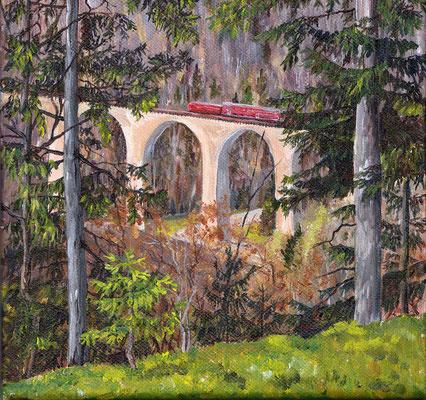 Ravennaviadukt II, 2014, Acryl auf Leinwand, 20x20 cm