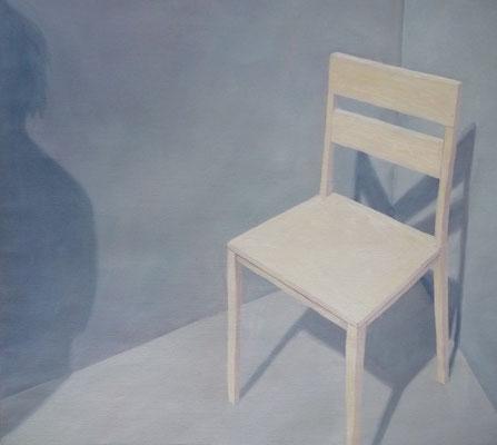 2012, Öl auf Papier,41x45 cm / Stühle