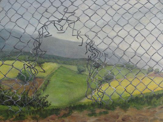 Weg am Zaun, 2008, Acryl auf Leinwand, 50x70 cm