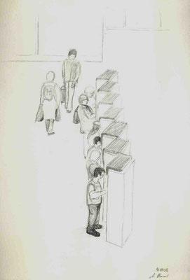 2008, Bleistift auf Papier, 30x21 cm / Warten