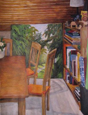 mein Raum, 2009, Acryl auf Papier, 56x42 cm /Warten
