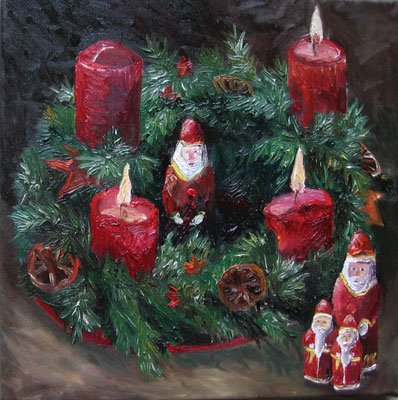 Advent, 2009, Öl auf Leinwand,33x33 cm / Warten