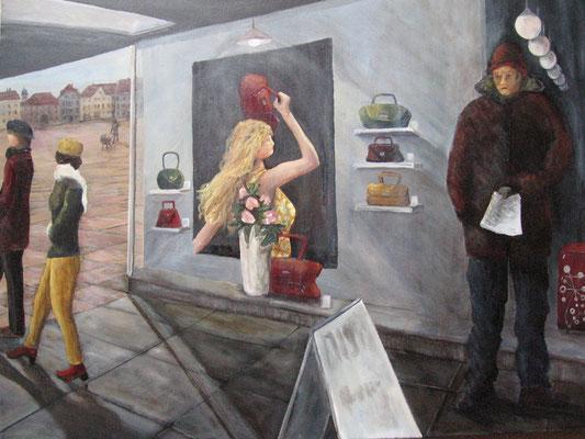 Unterführung, 2009, Acryl auf Leinwand, 60x80 cm / Warten