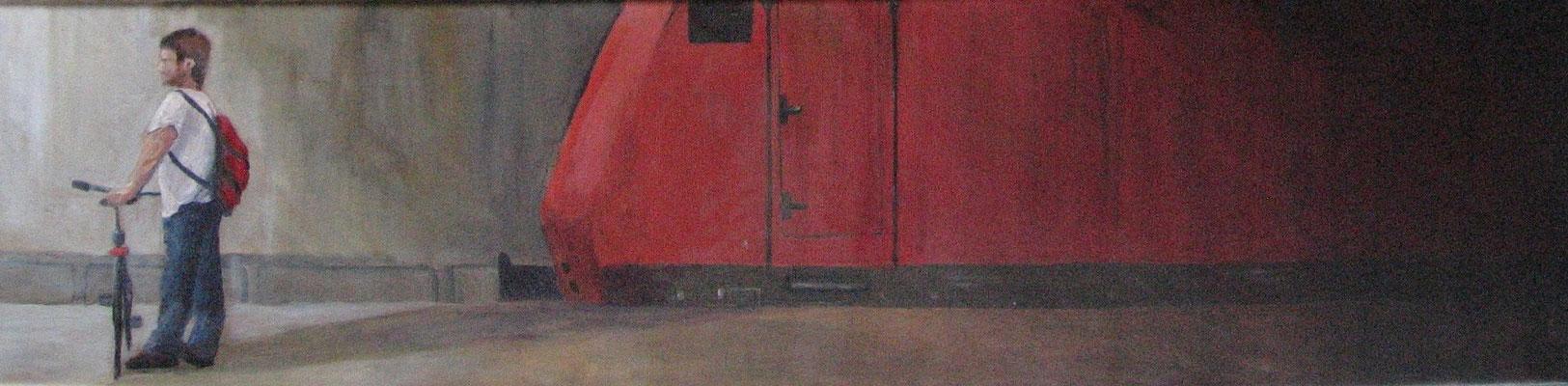Bahnhofsszene, 2007, Acryl auf Leinwand, 20x80 cm / Warten