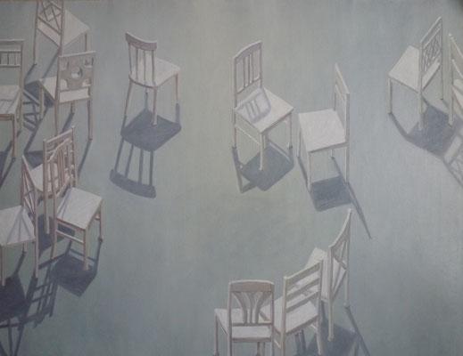 2013, Öl auf Papier, 51x64 cm / Stühle