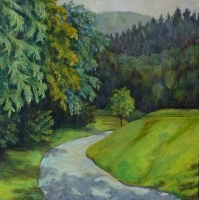 Weg im Dreisamtal, 2009, Acryl auf Leinwand, 70x70 cm
