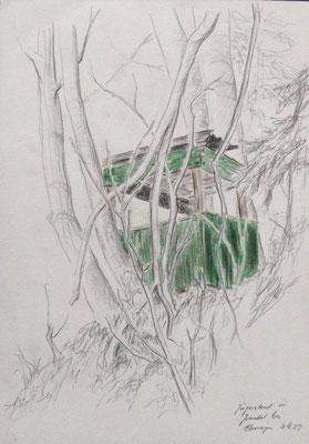 2009, Bleistift und Buntstifte auf Papier, 30x21 cm / Jägerstand / Warten