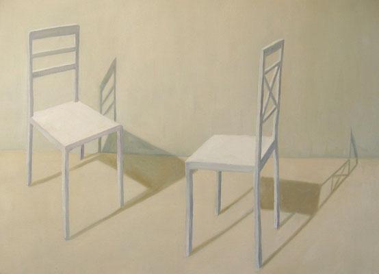 2011, Öl auf Papier,42x56 cm / Stühle