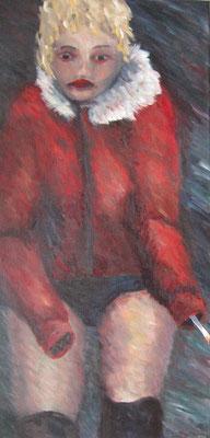 Nacht, 2008, Acryl auf Leinwand, 60x30 cm /Warten