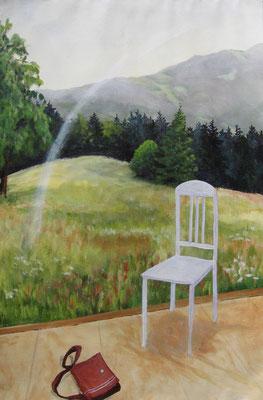 Der weiße Bogen, 2010, Acryl auf Papier, 55x38 cm /Stuhl