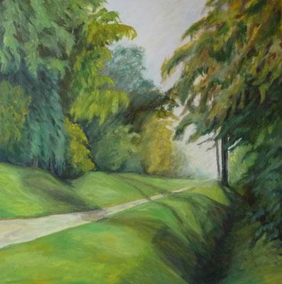 Radweg am Rhein, 2008, Acryl auf Leinwand, 100x100 cm
