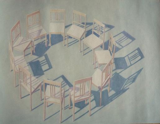 2012, Öl auf Papier, 64x51 cm / Stühle