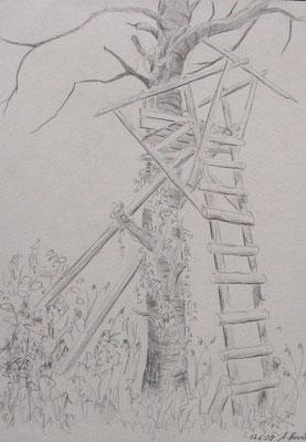 2009, Bleistift auf Papier, 30x21 cm / Jägerstand / Warten