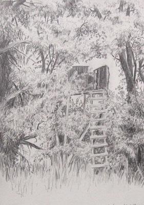 2009, Bleistift auf Papier 30x21 cm / Jägerstand / Warten