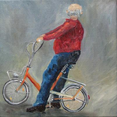 Velofahrer, 2010, Öl auf Leinwand, 25x25 cm / Warten